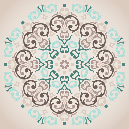 Vector circular turquoise and beige ornament design  Vector