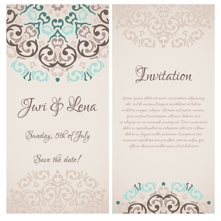 Vector baroque damask wedding invitation banners with a place for your text Vector