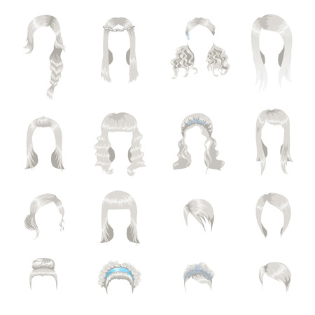 long straight hair: Set of sixteen different gray hairstyles for women