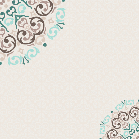 esquineros de flores: Vector damasco marco de la esquina ornamental, con un lugar para el texto
