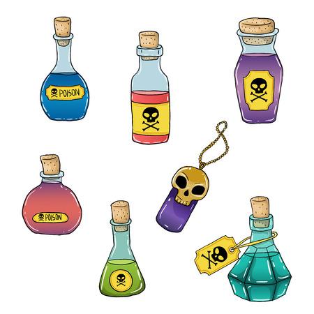 pocion: Vector conjunto de dibujado mano linda botellas de veneno para la fiesta de Halloween