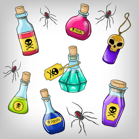 Vector cute hand drawn bottles with poison for Halloween party Vector