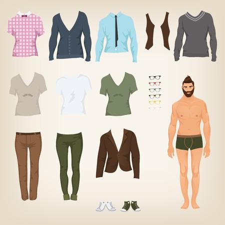 Vektor m�nnliche Hipster verkleiden sich Papierpuppe mit einem Sortiment von Kleidung