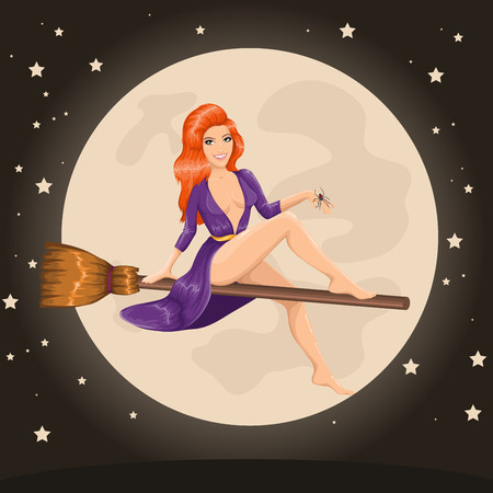 redhead woman: Vector cute sexy redhead witch flying on a broom Illustration