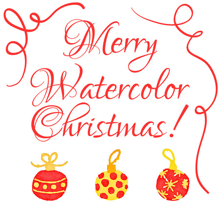 christmas watercolor: Vector Christmas watercolor greeting card with cute hand drawn ornament balls