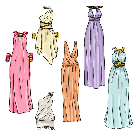 cartoon underwear: Vector hand drawn beautiful greek dresses