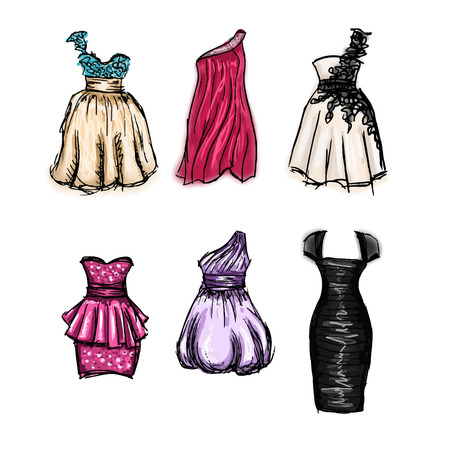 prom: Vector set of gorgeous hand drawn evening and prom dresses