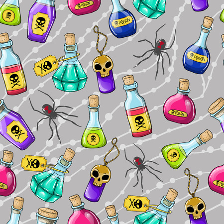 Vector Halloween cute hand drawn pattern with different poisons Vector