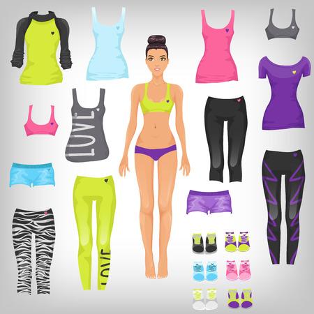 상단: 스포츠의 구색 종이 인형을 드레스와 패션 의류를 실행하는 벡터 일러스트