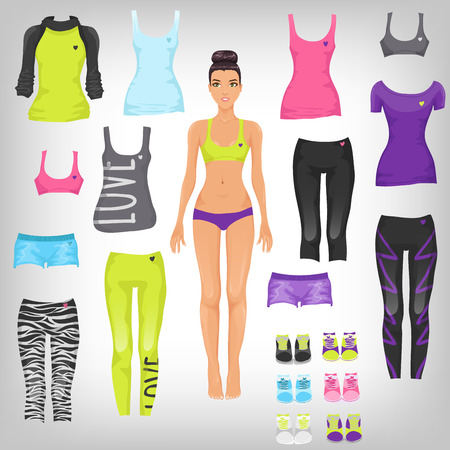Vector dress up paper doll with an assortment of sports and running fashionable clothes Vector