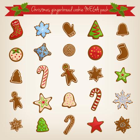 Vector Christmas mega set of cute gingerbread cookies Vector