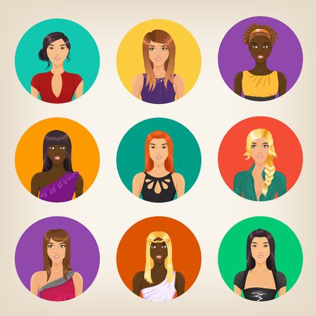 Vector set of nine different avatars in modern style Vector