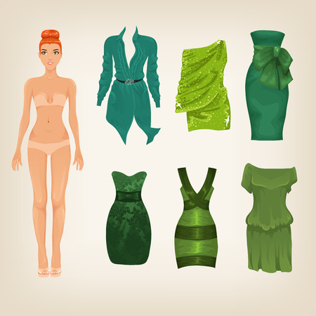 green dress: Vector dress up paper doll with an assortment of green dresses