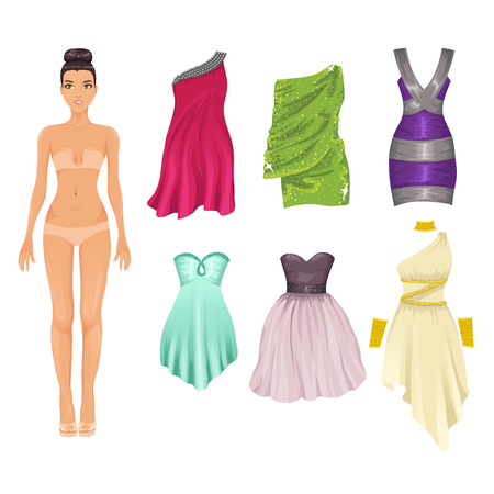 Vector dress up paper doll with an assortment of cocktail dresses Vector