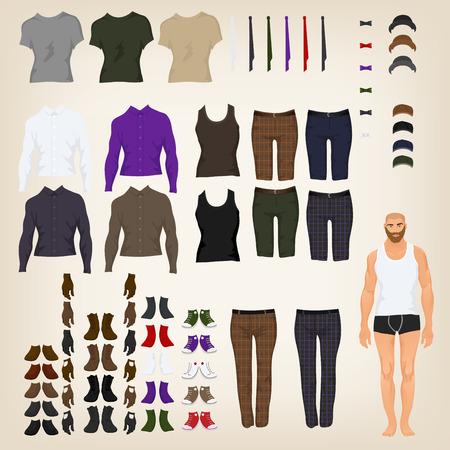 Vector hipster aankleedpop met een assortiment van hipster kleren
