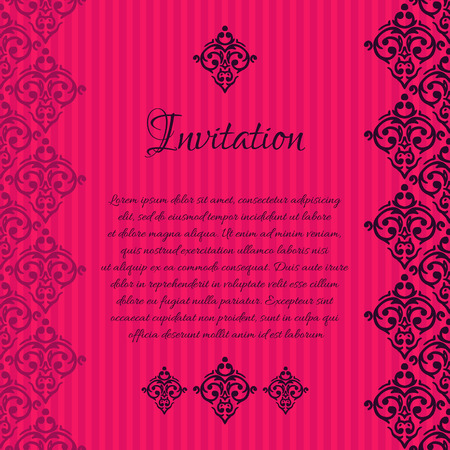 fuchsia: Vector seamless baroque damask luxury background Illustration