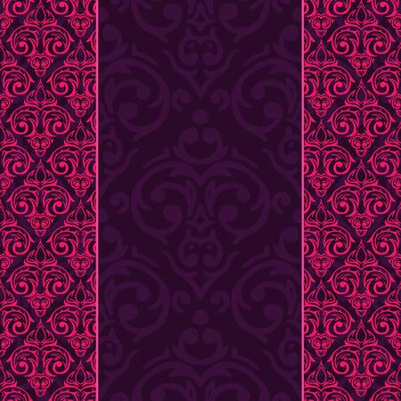 flores fucsia: Vector de fondo sin fisuras damasco barroco de lujo Vectores
