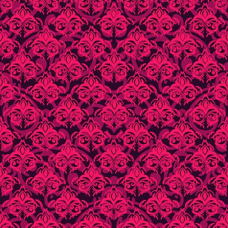fuchsia color: Vector seamless baroque damask luxury background Illustration