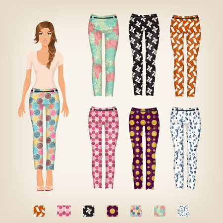 Vector dress up paper doll with an assortment of patterned pants Illustration