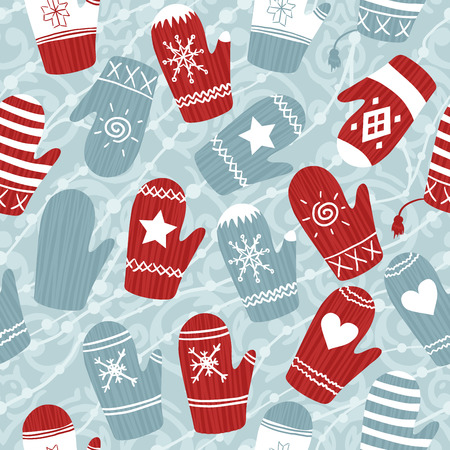 mittens: Seamless Christmas pattern with mittens