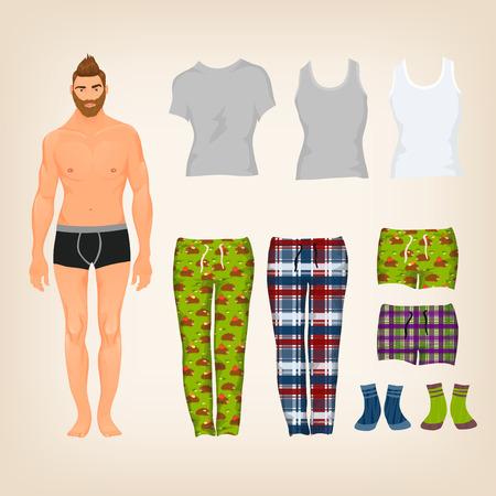 omini bianchi: Vector vestire bambola di carta di sesso maschile con un assortimento di freestyle homewear e pigiameria Vettoriali