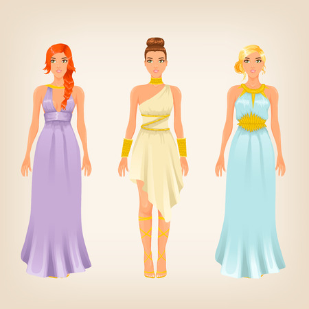purple dress: Vector pretty females in greek styled goddess dresses