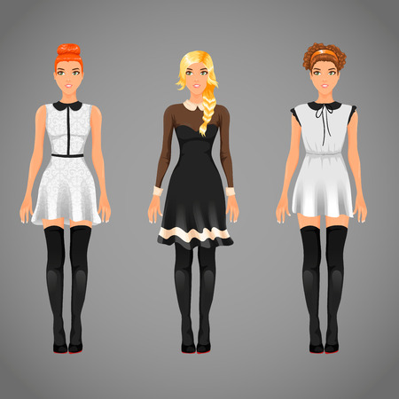 prom dress: Vector pretty females in different black and white collar dresses