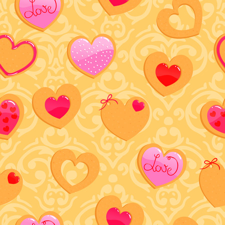 Vector cute yellow seamless Valentines Day pattern with heart shaped cookies