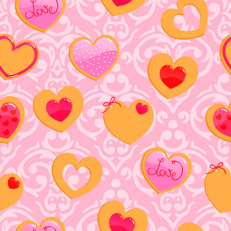 Vector cute pink seamless Valentines Day pattern with heart shaped cookies Illustration