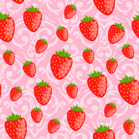 Vector cute pink seamless Valentines Day pattern with red strawberries