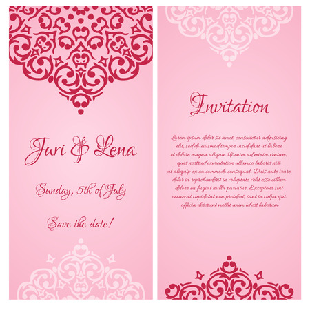 baroque damask wedding invitation banners with a place for text