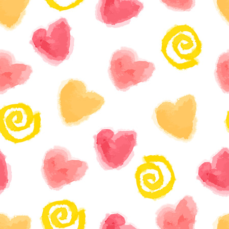 seamless watercolor hearts and swirls pattern for Valentines day