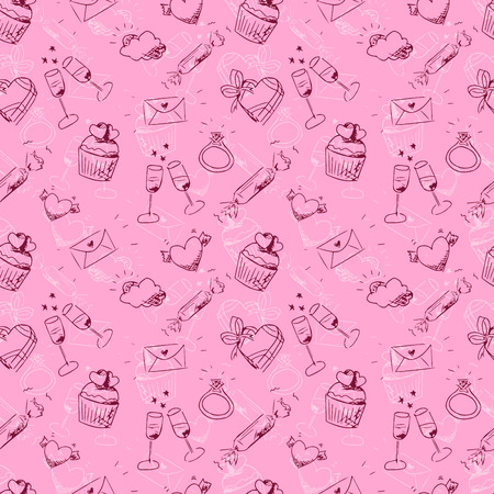 cute pink sketchy Valentines day seamless pattern