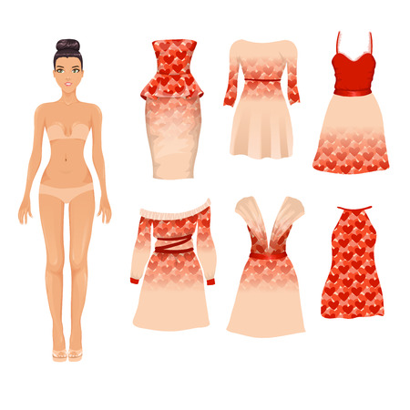 Vector set of different beige and red Valentines Day cocktail dresses with heart pattern Illustration