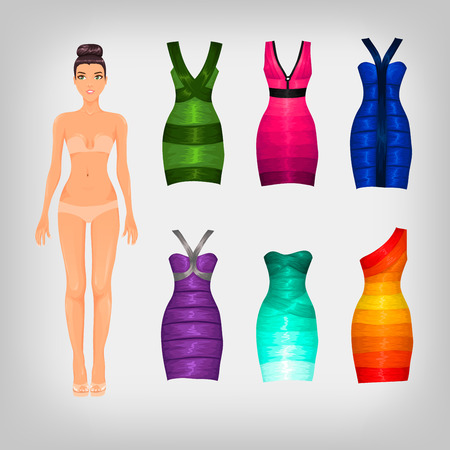 assortment: Vector dress-up doll with an assortment of bandage dresses