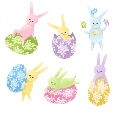 Set of Six cute colorful Easter bunnies