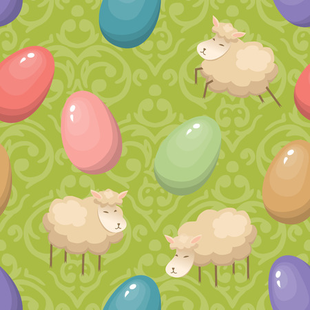 Cute seamless background with Easter Eggs and lambs