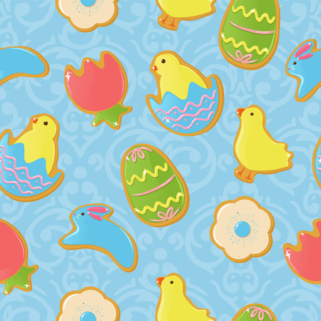 Seamless background with cute Easter themed cookies