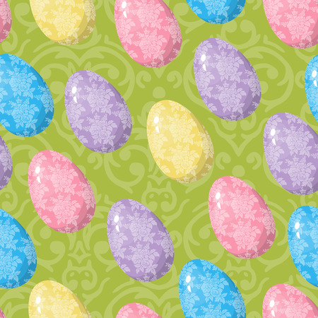 Cute seamless background with different colorful Easter Eggs