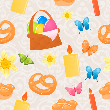 Vector cute Easter seamless pattern with colorful Easter items