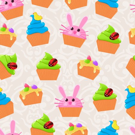 Vector cute Easter seamless pattern with colorful Easter cupcakes