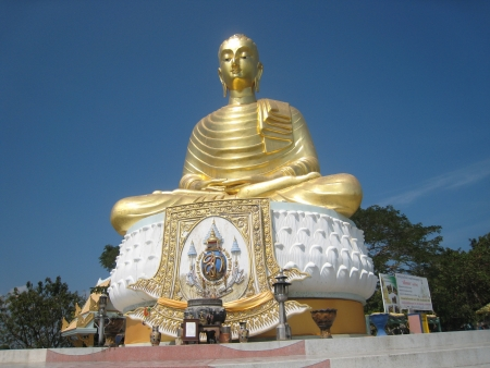 Native Thai Golden Buddha Statue near Baan Grood beach