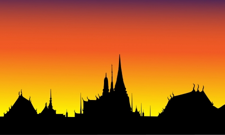 Silhouette  of The Grand Palace, Thailand