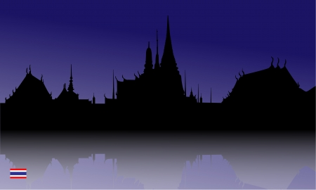 king thailand: Silhouette  of The Grand Palace, Thailand