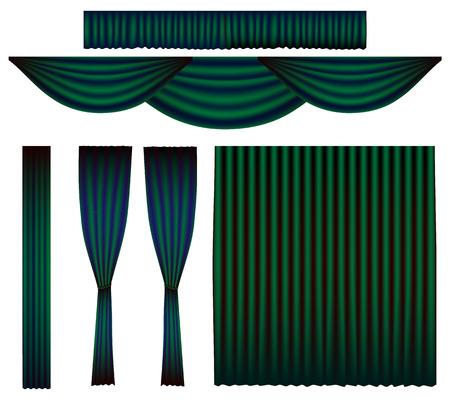 Emerald Green Curtain Vector Set Illustration