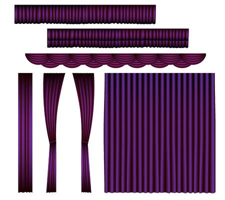 Violet Curtain Vector Set
