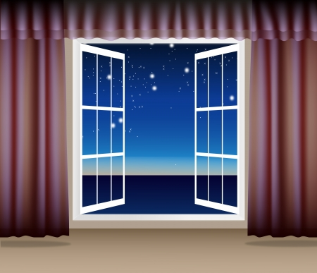 Night Scene through the window Illustration