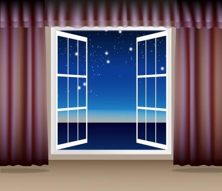 Night Scene through the window Illustration