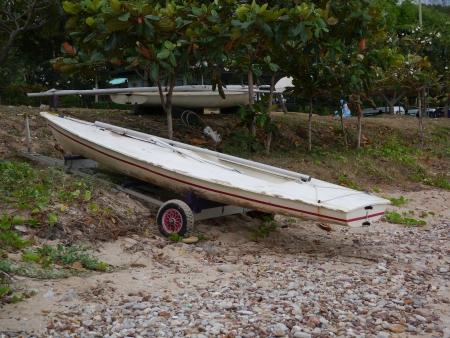 Sailboat on the shore Stock Photo