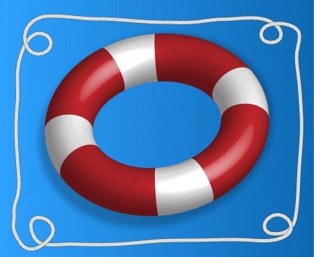 Big red lifebelt with rope border on the blue background Illustration